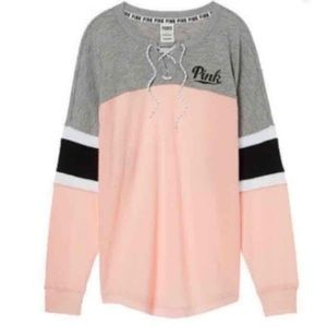 Victoria Secret Pink Lace Up Varsity Crew Pullover